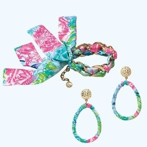 NWT Lilly Pulitzer bracelet & earrings fabric gold